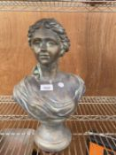 A BRONZE EFFECT BUST OF A FEMALE IN THE CLASSICAL STYLE (H:42CM)