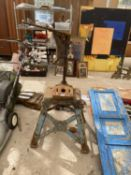 A VINTAGE 'BAMFORDS OF UTTOXETER' DRILL STAND WITH HEAVY BASE