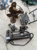 AN ASSORTMENT OF VITAGE ITEMS TO INCLUDE TWO BLOW TORCHES, A FOOT PUMP AND A FAN ETC