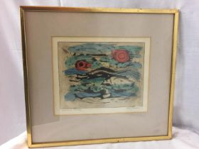 A FRAMED ABSTRACT BY DOLF RESER ARTISTS PROOF OF ORIGINAL, NOT PRINT ETCHING & LISTED ARTIST, HIS