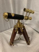 A BRASS AND LEATHER MARITIME TELESCOPE H:37CM