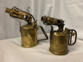 A PAIR OF VINTAGE BRASS BLOW TORCHES