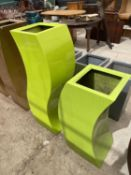 TWO CURVED GREEN FIBRE GLASS PALNTERS (H:120CM AND H:90CM)