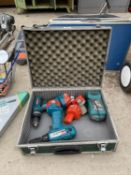 A PAIR OF 12V MAKITA WITH CHARGER AND TWO SPARE BATTERIES