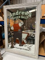 A LARGE VINTAGE ANDREW'S LIVER SALTS MIRROR WITHIN A PAINTED WOODEN FRAME 94CM X 68CM