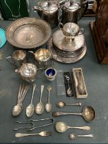 A LARGE QUANTITY OF SILVER PLATE ITEMS TO INCLUDE A COMPORT, FLATWARE, PLACE MATS ETC