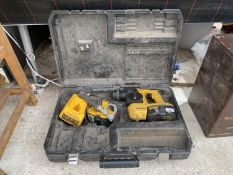 A DEWALT 18V SDS DRILL WITH CHARGER AND EXTRA BATTERY