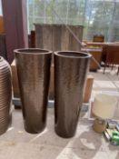 A PAIR OF DECORATIVE BROWN FIBRE GLASS PLANTERS (H:100CM)