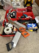 AN ASSORTMENT OF TOOLS TO INCLUDE A BLACK AND DECKER DRILL, PLIERS AND HAND SAWS ETC