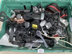 AN ASSORTMENT OF COMPUTER CABLES, KEYBOARDS AND COMPUTER MOUSE ETC