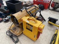 AN ASSORTMENT OF ITEMS TO INCLUDE A SPACE HEATER, A JUMP START BOOSTER AND A SPRAYIT COMPRESSOR