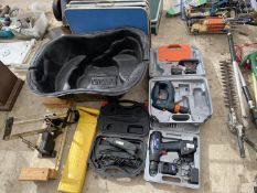 AN ASSORTMENT OF ITEMS TO INCLUDE A POWER CRAFT DRILL, A QUATRO DRILL AND A MITRE SAW ETC