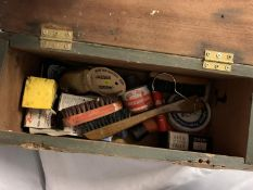 A PAINTED AVERTISING SHOE SHINE BOX WATERLOO STATION ' MRS HOARES GUEST HOUSE - THE LANDLADY CAN