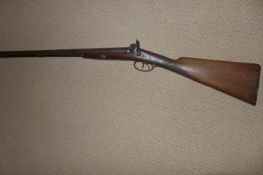 A DOUBLE BARRELED SIDE BY SIDE PERCUSSION CAP SHOTGUN BY DURS EGG WITH A 71CM BARREL. ENGRAVED LOCKS