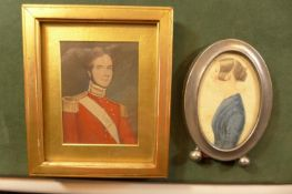 A FRAMED PORTRAIT MINATURE OF MAJOR HECTOR MACKENZIE OF THE HONOURABLE EAST INDIA COMPANY. 9CM X 6.