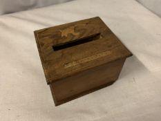 AN INLAID WOODEN STORAGE BOX