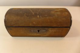 "A NAPOLIONIC WAR PERIOD DOMED BOX WITH THE INSCRIPTION ""LIEUTENANT ROBERT SPENS PARK 58TH REGIMENT"
