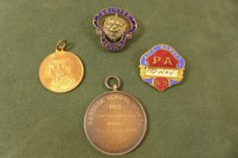 AN ENAMEL BRITISH LEGION BADGE, P.A. BADGE AND A SILVER SLOW BICYCLE RACE MEDAL ETC