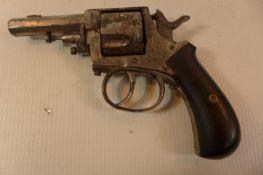 AN OBSOLETE CALIBRE 32 RIMFIRE SIX SHOT REVOLVER WITH 6.5CM BARREL