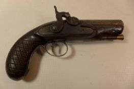 """A PERCUSSION CAP FULL BORE """"MAN STOPPER"""" PISTOL WITH A 10CM BARREL, WOODEN GRIPS"""