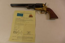 A DEACTIVATED PIETTA 9MM NAVY COLT REVOLVER 18.5CM BARREL TOGETHER WITH AN EU DEACTIVATION