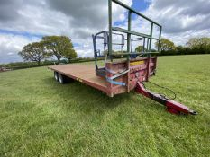 MARSHALL 24' BALE TRAILER WITH CHEQUER PLATE FLOOR ON 4 ROAD TYRES WITH SPARE ROAD TYRE & WHEEL