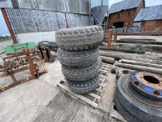 SET 4 OF 6 STUD FIELD TYRES & WHEELS TO FIT MARSHALL TRAILER