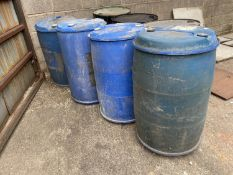 4 BLUE PLASTIC DRUMS