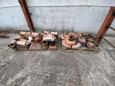 2 PALLETS OF CLAY PIPE BENDS ETC. ETC.