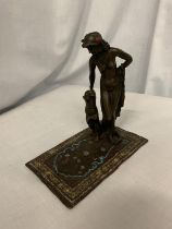 A COLD PAINTED BRONZE OF A NUDE LADY WITH HER LEOPARD (A/F NEEDS A SCREW ON LADIES FOOT) L: 16CM