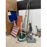 AN ASSORTMENT OF ITEMS TO INCLUDE A WOODEN RAMP, A TWO RUNG STEP LADDER, A GARDEN VAC AND A GOLF