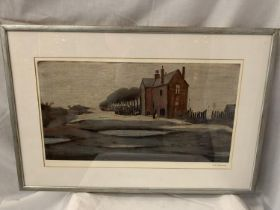 A LAURENCE STEPHEN LOWRY R.A (1887-1976) 'THE LONELY HOUSE' SIGNED IN PENCIL WITH MAGNUS PRINTS