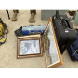 AN ASSORTMENT OF ITEMS TO INCLUDE A SUITCASE, FRAMED PRINTS AND PICTURES ETC