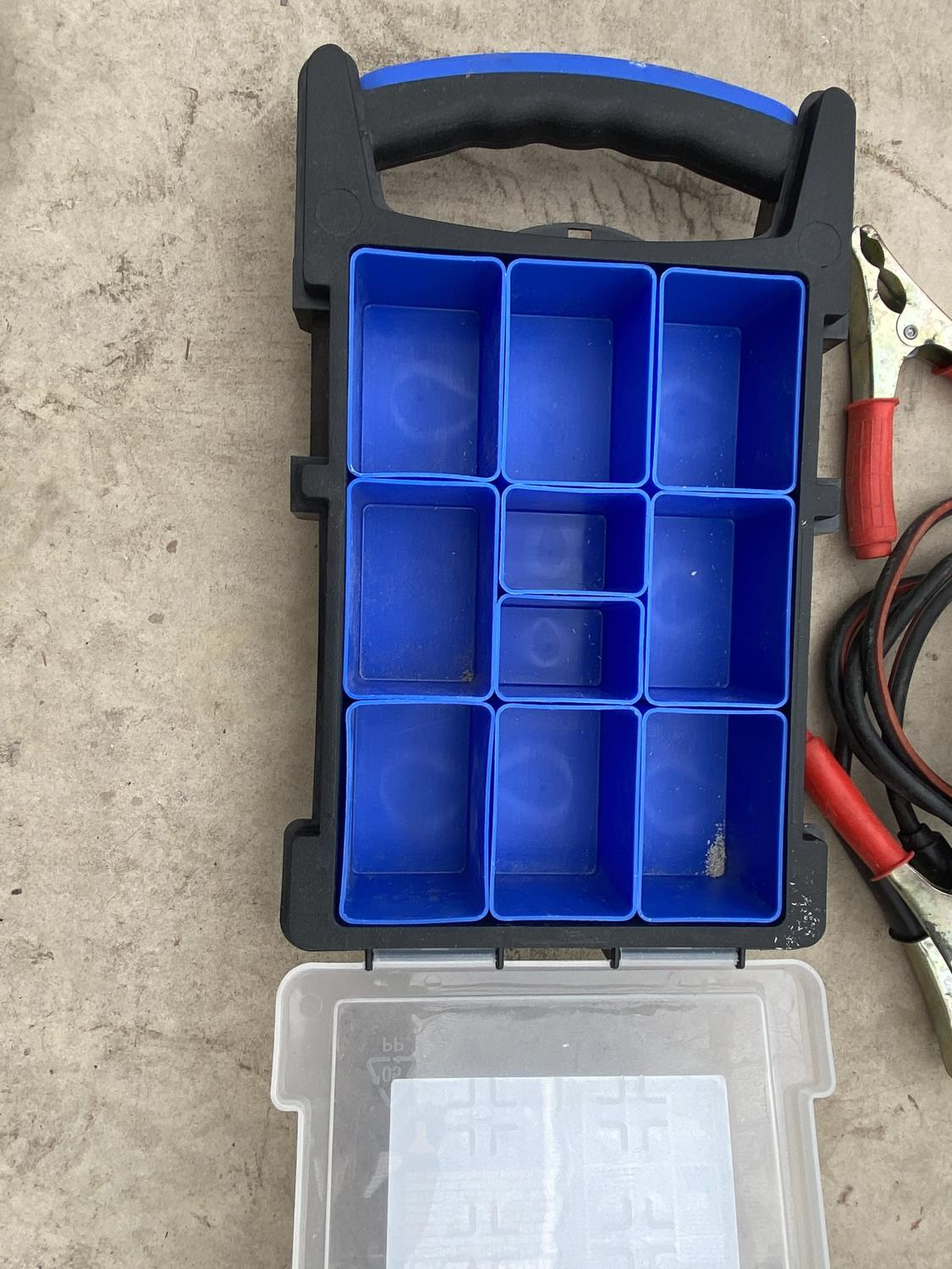A BATTERY CHARGER, EXTENSION LEADS AND A SCREW BOX - Image 2 of 4