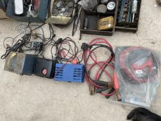 THREE BATTERY CHARGERS AND TWO SETS OF JUMP LEADS