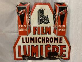 A DOUBLE SIDED ENAMEL SIGN FILM LUMICHROME LUMIERE88CM X 90CM