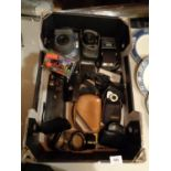 A LARGE BOX CONTANING CAMERAS AND RELATED EQUIPMENT