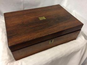 A MAHOGANY BOX WITH BRASS INLAY AND A KOALA BEAR WINE STOPPER