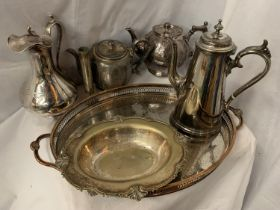 A COLLECTION OF EPNS AND SILVER PLATE ITEMS TO INCLUDE HANDLED TRAY, TWO COFFEE POTS AND TWO TEA