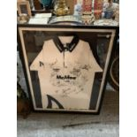 A FRAMED AND SIGNED SALE SHARKS SHIRT AND A SIGNED RUGBY BALL
