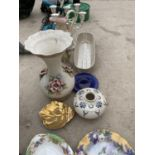 AN ASSORTMENT OF ITEMS TO INCLUDE CERAMIC VASES, CANDLE HOLDERS AND PLATES ETC