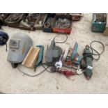 AN ASSORTMENT OF POWER TOOLS TO INCLUDE A BELT SANDER AND A CIRCULAR SAW ETC