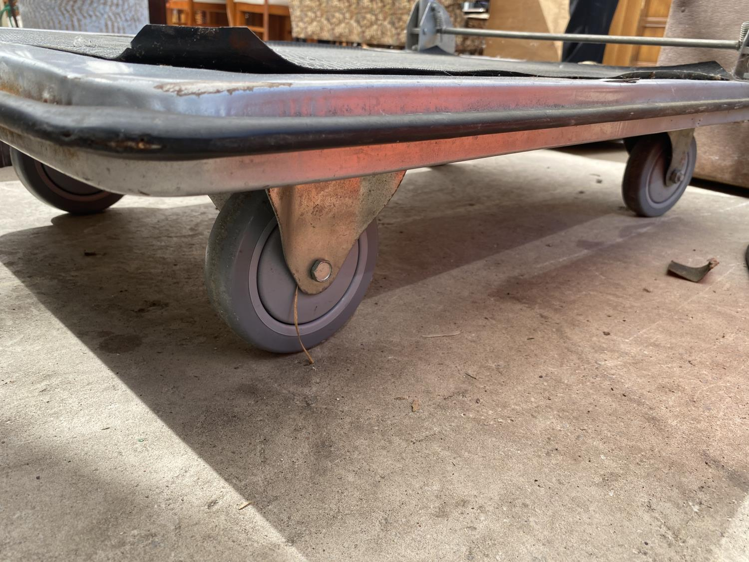 A FOUR WHEELED FLAT BED TROLLEY - Image 3 of 3