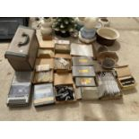 AN ASSORTMENT OF ELECTRICAL ITEMS TO INCLUDE FUSES, ARIELS, SPEAKERS AND A SLIDE PROJECTOR