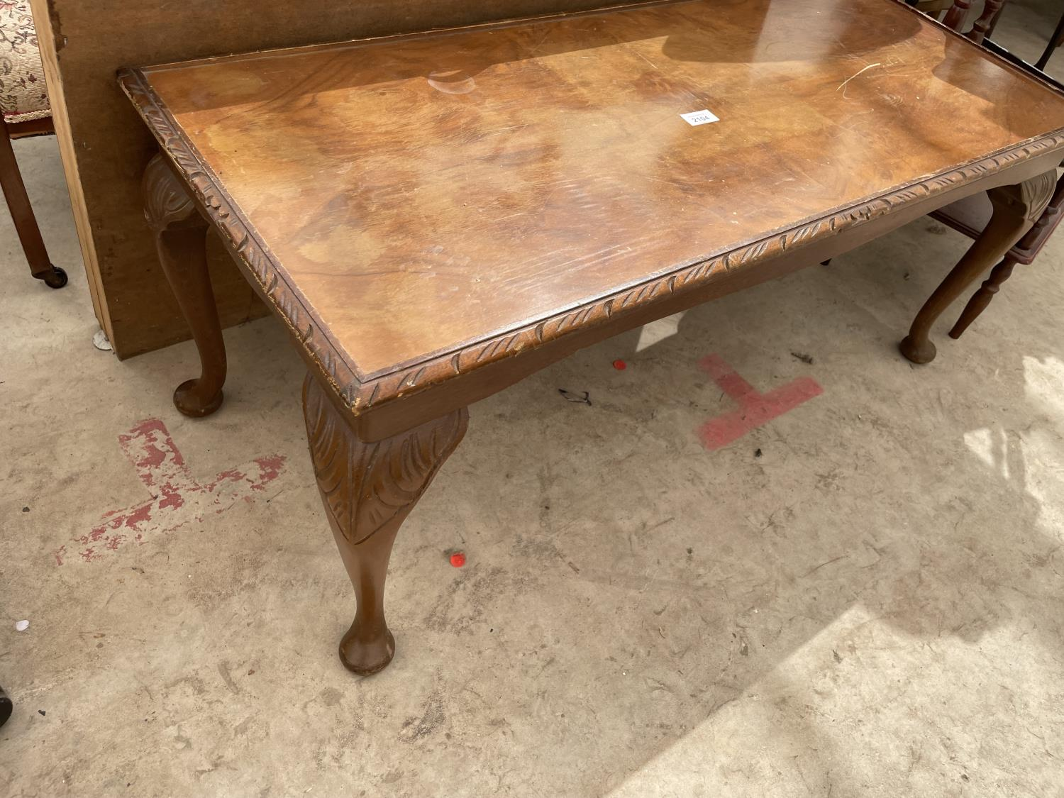 A PASTING TABLE, CORNER WHATNOT, TWO TIER TABLE AND WALNUT COFFEE TABLE - Image 2 of 4