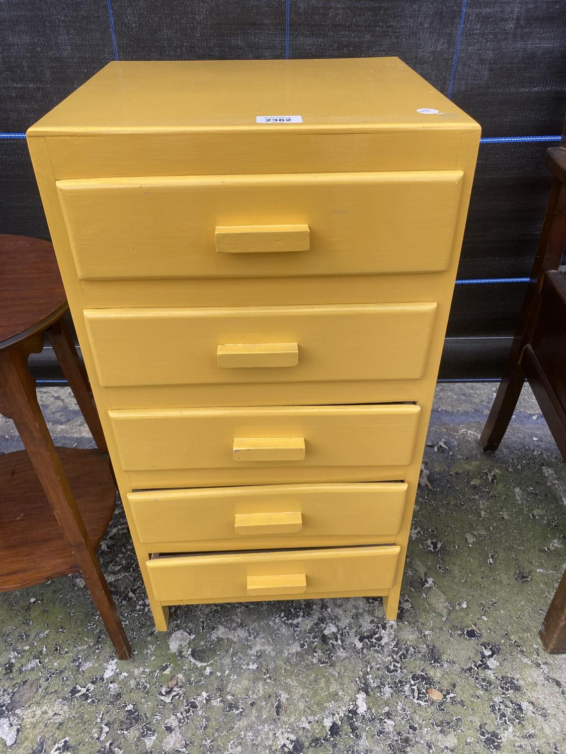 A YELLOW PAINTED CHEST OF FIVE DRAWERS AND AN EDWARDIAN TWO TIER OCCASIONAL TABLE - Image 2 of 4