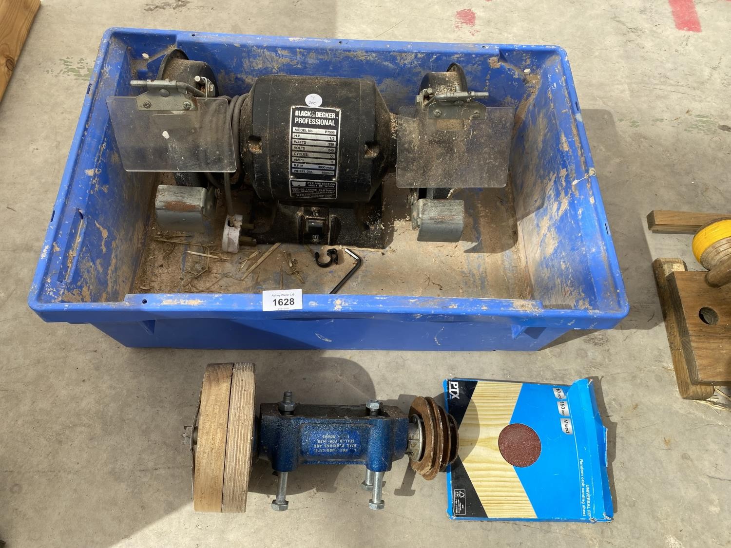 A BLACK AND DECKER WORK BENCH GRINDER AND A PULLEY