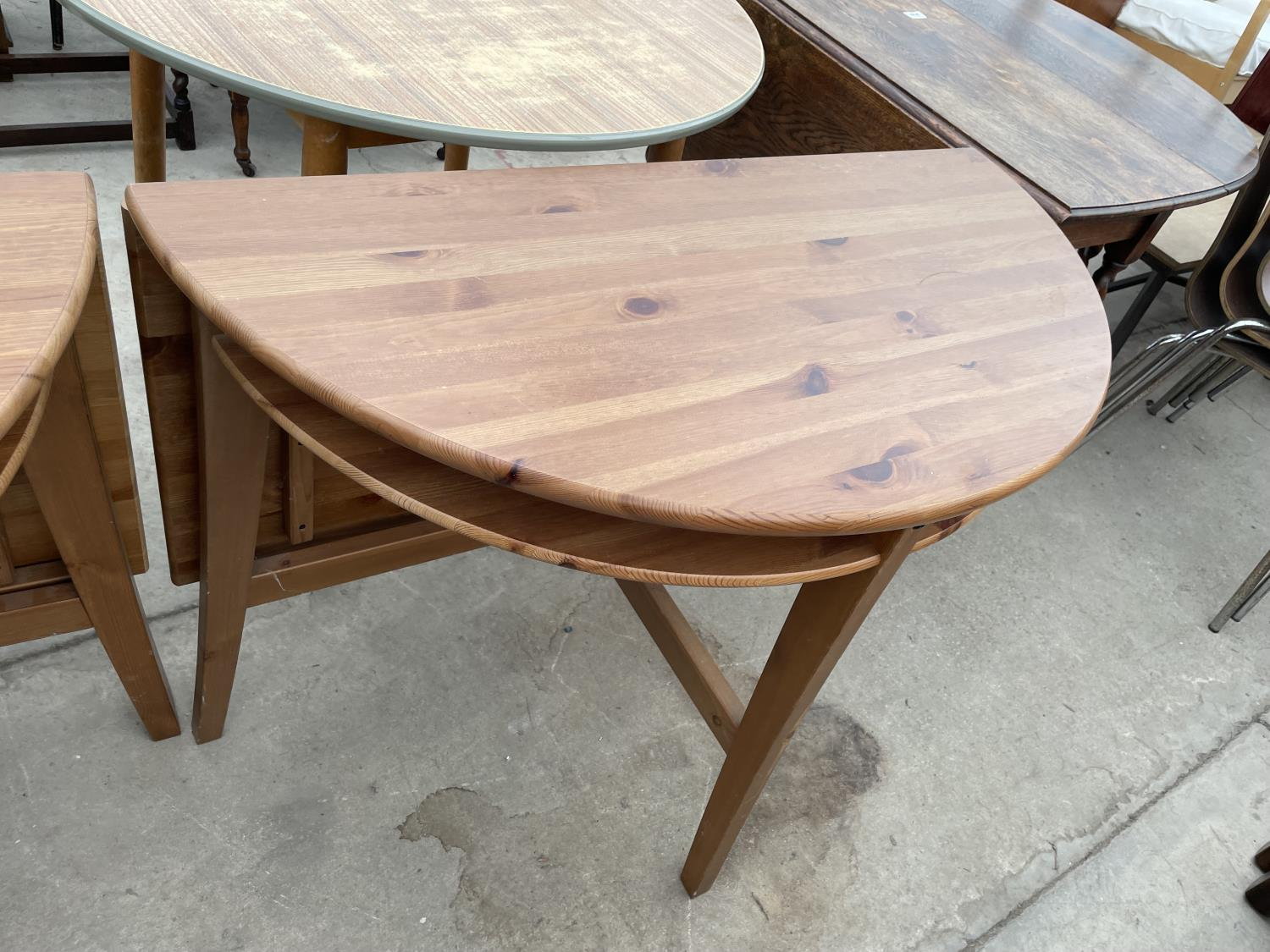 TWO PINE DROP LEAF TABLES - Image 4 of 5
