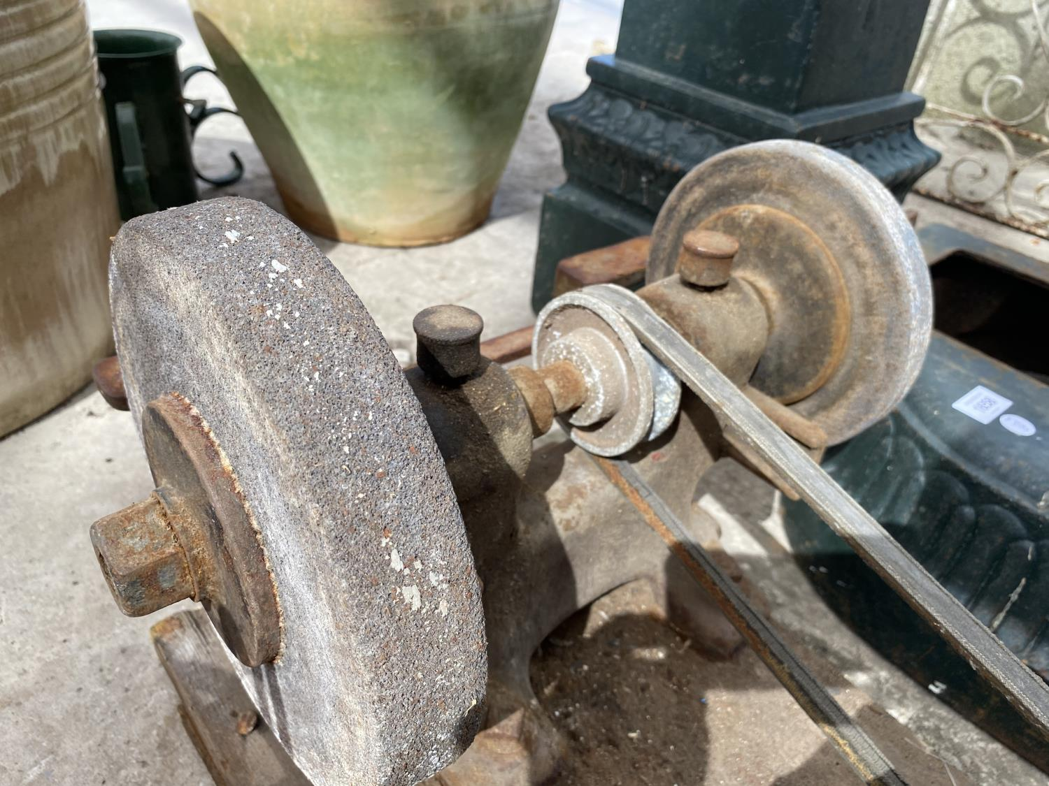 A VINTAGE TWIN WHEELED BENCH GRINDER - Image 2 of 3