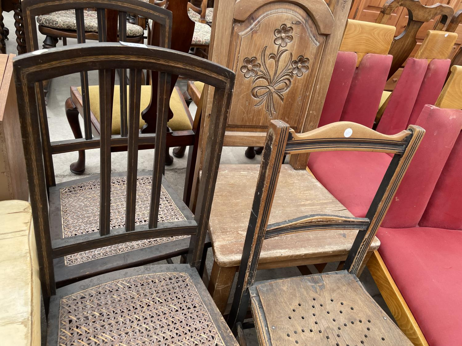 THREE VARIOUS BEDROOM CHAIRS AND CARVED BEECH HALL CHAIR - Image 2 of 4